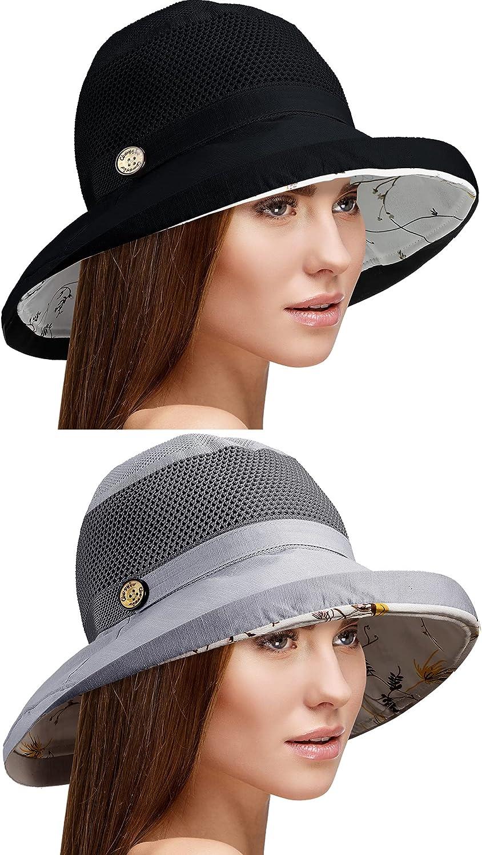 2 Pieces Women Sun Hat Cotton Wide Brim Hats UV Protection Packable Beach Hat Summer Bucket Cap