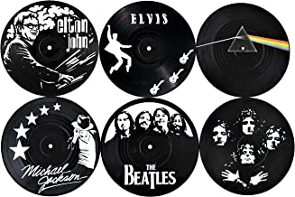 Our Casa Drink Coasters Mats | Retro Records Design of Music Legends | Bar Home Non-Slip Prevent Tabletop Damage Washable ...
