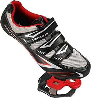 Venzo Bicycle Men's or Women's Road Cycling Riding Shoes - 3 Velcro Straps- Compatible with Look KEO Sealed Bearing Pedals & Cheats Perfect for Road Racing Bikes, Black Color