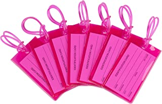 7 Pack TravelMore Luggage Tags For Suitcases, Flexible Silicone Travel ID Identification Labels Set For Bags & Baggage - Hot Pink