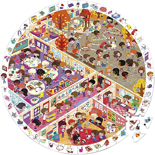 Janod Jouet en Bois Coffret Puzzle rond Puzzle école 208pièces Puzzle et Poster avec jeu de recherche, multiCouleure