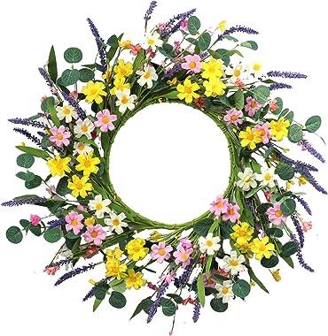 "Artificial Flower Wreath,20"" Daisy and Lavender Wreath Floral Wreath Spring and Summer Wreath for Front Door Window Home Deco"
