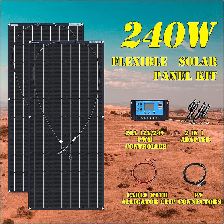 Kit De Panel Solar Flexible, 18v, 120 W, 240 W, 360W, 480W, para Batería De 12V Y 24V, para Coche, Autocaravana, Hogar, Carga De Energía Al Aire Libre (Color : 240W Kit Black)