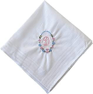 ETHO 13 Pack Bakers Dozen Womens Handkerchiefs With Initial Embroidery, Letter D