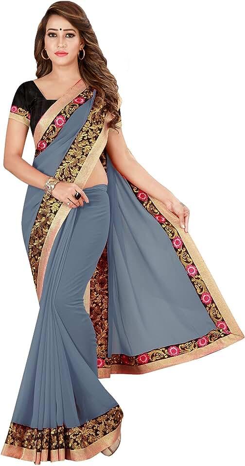 Indian Panjari Women's Kanchipuram Pure Georgette Saree With Blouse Piece (PN_ARVY_GREY_Grey) Saree