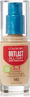 Covergirl Outlast Stay Fabulous 3 in 1 Foundation and Broad Spectrum SPF 20, #842 Medium Beige - 1 Oz, Pack of 2