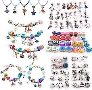 Finduat 92 Pcs Charm Bracelets Necklaces Making Kit for Girls, Thriller Charm Beads Bracelet Jewelry Kit with Bracelets, B...