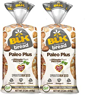 BUK Foods Paleo Plus Sprouted Gluten Free Bread (2 loaves, 32 oz each)