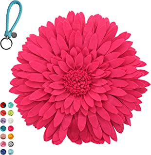 Flower Decorative Pillow - 3D Daisy Flower Pillow, Sunflower Throw Pillow -14.5 x 13 inch Round Decor Pillow - Flower Home Decorations - Couch & Bed Flower-Shaped Pillow (Case Only, Solid Fuchsia)