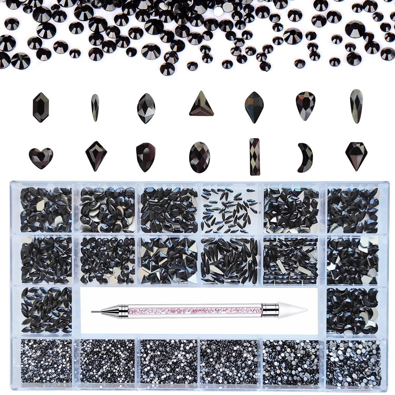 Reservation Vikerer Black Nail Rhinestones Kit Multi lowest price Shapes 10780pcs Crysta