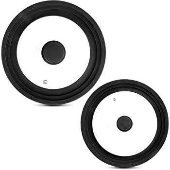 Universal Lids for Pots, Pans and Skillets (Set of 2) Silicone Smaller Lid Fits All 7 to 9 Inch Pots and Pans - Silicone Larger Lid Fits 10 to 12 Inch Cookware Replacement Lids (Black)