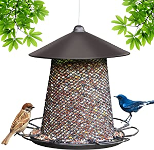 Bird Feeders Squirrel Proof for Outside Hanging, Bird Feeder, Cardinal Bird Feeder with Roof Hook Outdoor, Wild Bird Seed for Outside Feeders, Finch Bird Feeder for Garden Larger Capacity 7LB Brown