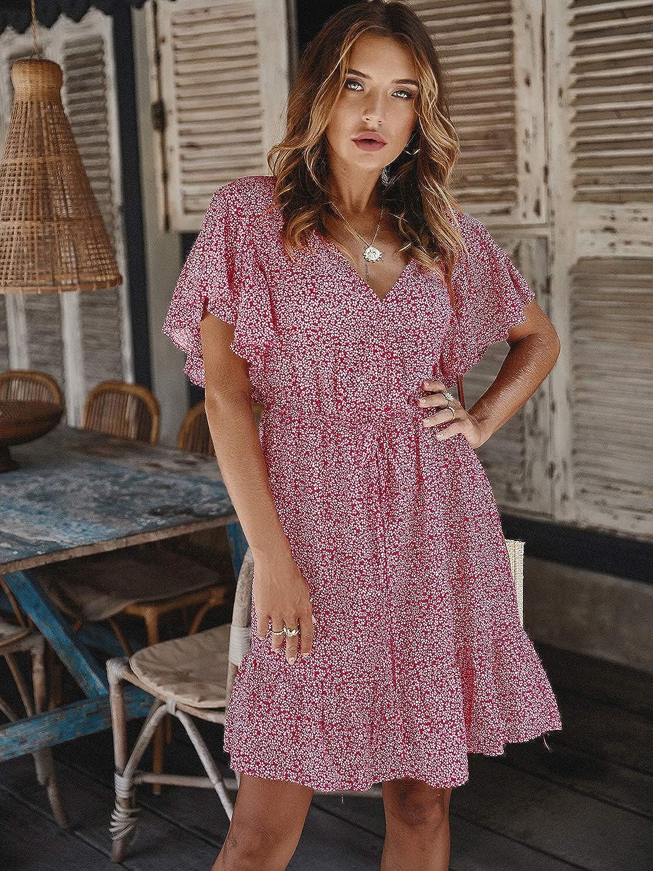 Miessial Women's Short Sleeves Wrap V-Neck Mini Dress Casual Print A-Line Shift Dress