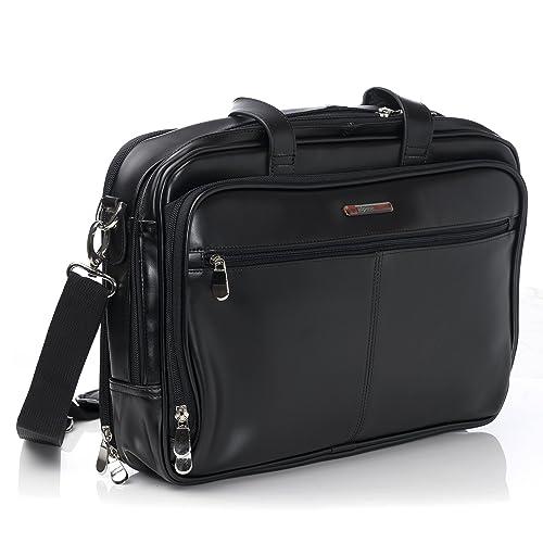 2c88245472 Alpine Swiss Monroe Leather Briefcase Top-Zip Laptop Messenger Bag Black