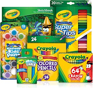 Crayola® 140 Piece Favourites Inspiration Set, Premium Quality Assortment of Colouring Tools, 64 Crayons, 24 Coloured Pencils, 20 Washable Markers, 18 Washable Paints, Paint Brush, 12 Sidewalk Chalks, 40pg Sketchbook – Perfect Gift for Boys and Girls