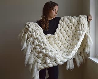 Chunky Knit Blanket - 100% Merino Wool Throw with Fringe