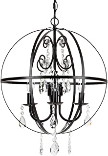 Amalfi Decor 4 Light Orb Crystal Beaded Chandelier, LED Cage Wrought Iron K9 Glass Pendant Light Fixture Contemporary Nursery Kids Room Dimmable Plug in Hanging Ceiling Lamp, Black
