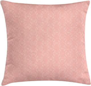 NYWDZT Peach Throw Pillow Cushion Cover, Soft Colored Background with Crowns and Floral Abstract Motifs with Faded Look Monochrome, Decorative Square Accent Pillow Case, 18 X 18 Inches, Coral