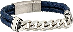 Steve Madden - Stainless Steel Curb Chain w/ Blue Braided Leather Bracelet