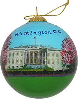 Hand Painted Glass Christmas Ornament - Washington D. C. – White House with Cherry