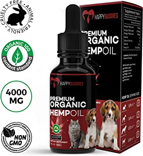 Happy Buddies – 100% Organic Hemp Oil for Dogs Cats - 4000 mg - Omega 3,6 & 9 - Calming Drops - Separation Anxiety, Stress Relief, Supports Mobility, Joint Pain, Seizures, Immune System