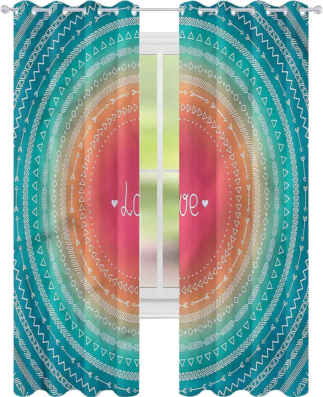 Window Curtain Drape Easy-to-use Arrow Geometric Ranking TOP1 Tribal W52 Colorful L72 x B