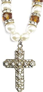 Premang Decors Studded Cross Pendant in Crystal Beads for Car Hanging, Brown