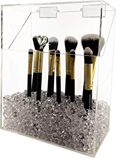 Makeup Brush Holder with Lid: Large Size, Dustproof, with Diamond Beads (Clear)