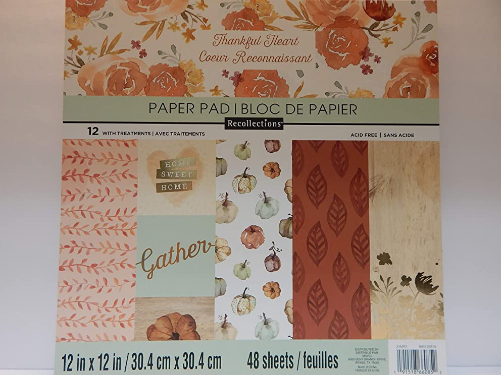 "Craft Smith Recollections Thankful Heart Paper Pad 48 Textured Sheets 12"" x 12"" Autumn, Fall Leaves, Ivy, Acorns, Pumpkins, Thanksgiving Designs"