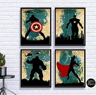 Avengers Poster Set 4 Minimalist Watercolor Vintage Poster Marvel Movie Print Avengers Artwork Wall Art Home Decor Wall Hanging Captain America Iron Man Thor Hulk
