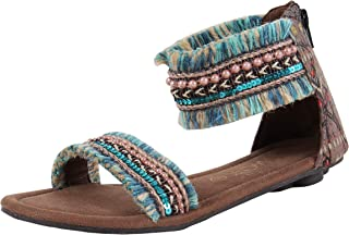 Catwalk Women's Frill Embellished Blue Outdoor Sandals
