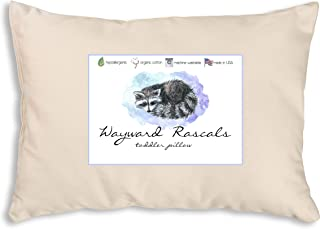 Wayward Rascals Toddler Pillow - Organic Cotton - Soft Hypoallergenic Fill - Made in USA - Machine Washable - 13x18 - Childrens Bedding