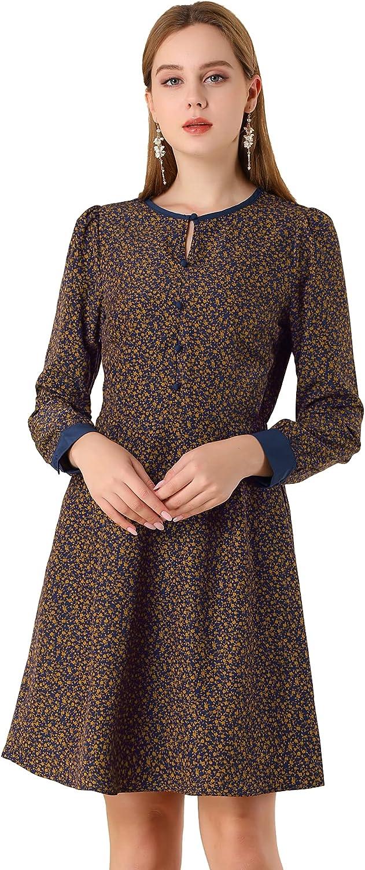 Allegra K Women's Fall Long Sleeve Elastic Waist Keyhole A-line Floral Dress
