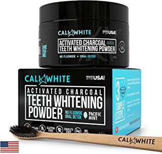 Cali White Vegan Activated Charcoal Teeth Whitening Powder 20gram, Best Natural Tooth Whitener, Black Carbon Coco from Organic Coconut, Faster Than Toothpaste & Strips (Toothbrush NOT Included)