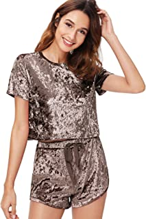 Women's 2 Piece Outfits Summer Velvet Crop Top Tee Shirt and Shorts Pajama Sets