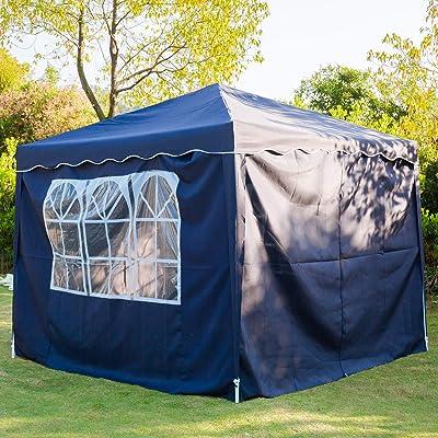 3 x 3 m Cenador, Impermeable Pop Up Cenador para Patio con Paneles Laterales y Bolsa de Almacenamiento para la Boda al Aire Libre Fiesta en el jardín (Azul-3 x 3 m):