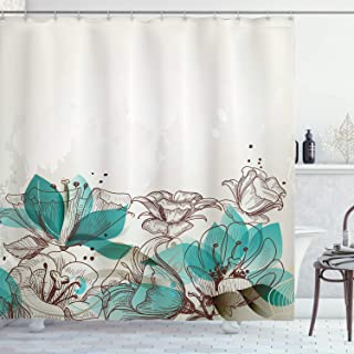 Ambesonne Turquoise Shower Curtain, Retro Floral Background with Hibiscus Silhouettes Dramatic Romantic Nature Art, Cloth Fabric Bathroom Decor Set with Hooks, 84
