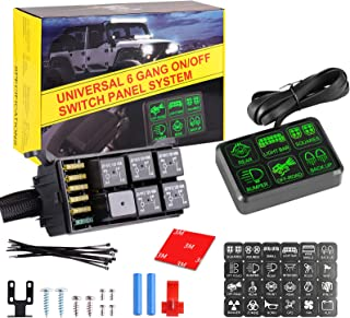 6 Gang Switch Panel, iPar Town Electronic Relay System Circuit Control Box Button Switch Pod Touch Switch Box Wiring Harness Label Stickers for Truck ATV UTV SUV Car