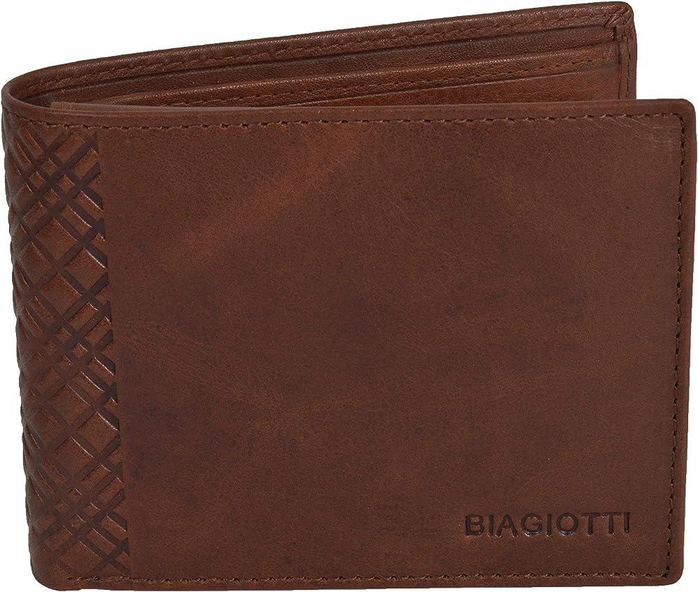 Laura biagiotti uomo, portafoglio , porta carte di credito in vera pelle, Marrone 760