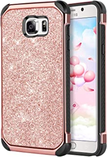 Galaxy Note 5 Case,DUEDUE Shockproof Luxury Glitter Bling Hybrid Hard Cover Laminated with Sparkly Shiny Faux Leather Soft TPU Bumper Protective Case for Samsung Galaxy Note 5, Rose Gold