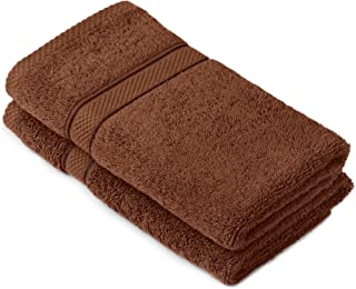 Pinzon by Amazon - Egyptian Cotton Towel Set, 2 Hand Towels - Cocoa, 600gsm