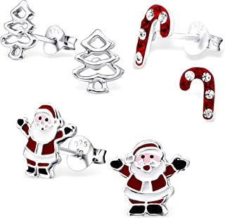 925 Sterling Silver (SET OF 3) Christmas Tree Santa Claus Crystals Candy cane Stud Earrings 28468