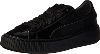 PUMA Women's Basket Platform Patent Fashion Sneaker, Black Black