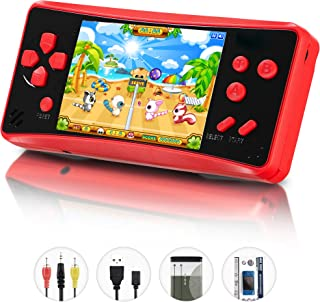 HigoKids Retro Classic Handheld Game Console Built in 218 Games AV Out Retro Childhood Family TV Video Game Controller 3.5 Inches LCD Large Screen 1 USB Charge Handheld Games for Adults-Soul Red