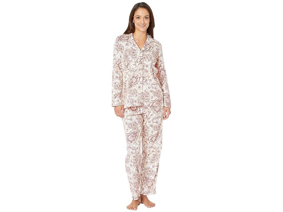 LAUREN Ralph Lauren Petite Classic Knit Notch Collar Pajama Set (Red Cream Paisley Print) Women