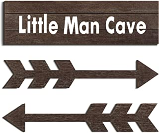 3 Pieces Little Man Cave Wood Sign Decor Toddler Boys Room Wood Wall Art Sign 15 x 4 x 0.2 Rustic Boys Nursery Wall Sign D...