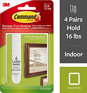 Command Picture Hanging Strips, Indoor Use, 4-packages (24 pairs total), Holds 16 lbs, Decorate Damage-Free (17206-6ES)