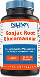 Konjac Root 2000 mg per serving 180 Vcaps by Nova Nutritions (Also Known as Glucomannan root)