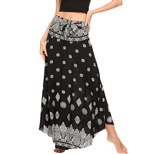 08e98fbcb3 SE MIU Women's Long Bohemian Style Floral Print Boho Hippie Maxi Skirt Dress  Asymmetric Hem Design
