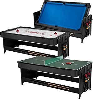 Fat Cat Original 3-in-1 7' Pockey Multi-Game Table, Play Pool, Air Hockey and Table Tennis, Play 3 Games all with the Same Table with an Easy Switch Latch System